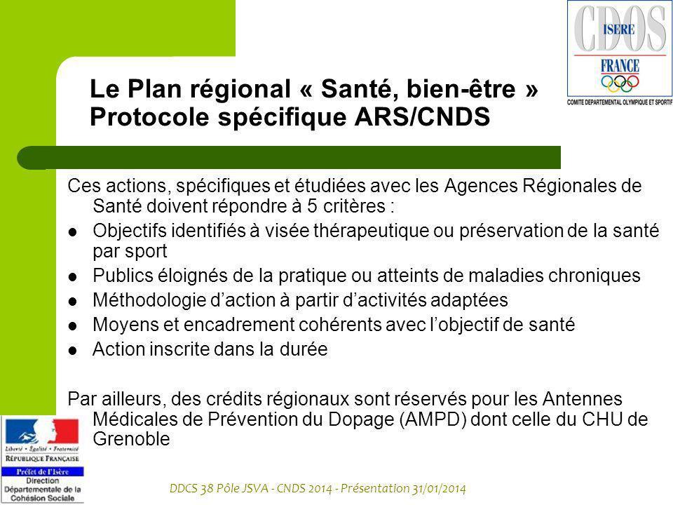 Le Plan régional « Santé, bien-être » Protocole spécifique ARS/CNDS