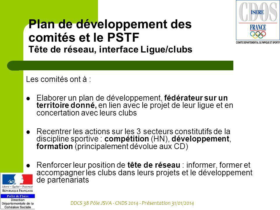 Plan de développement des comités et le PSTF Tête de réseau, interface Ligue/clubs