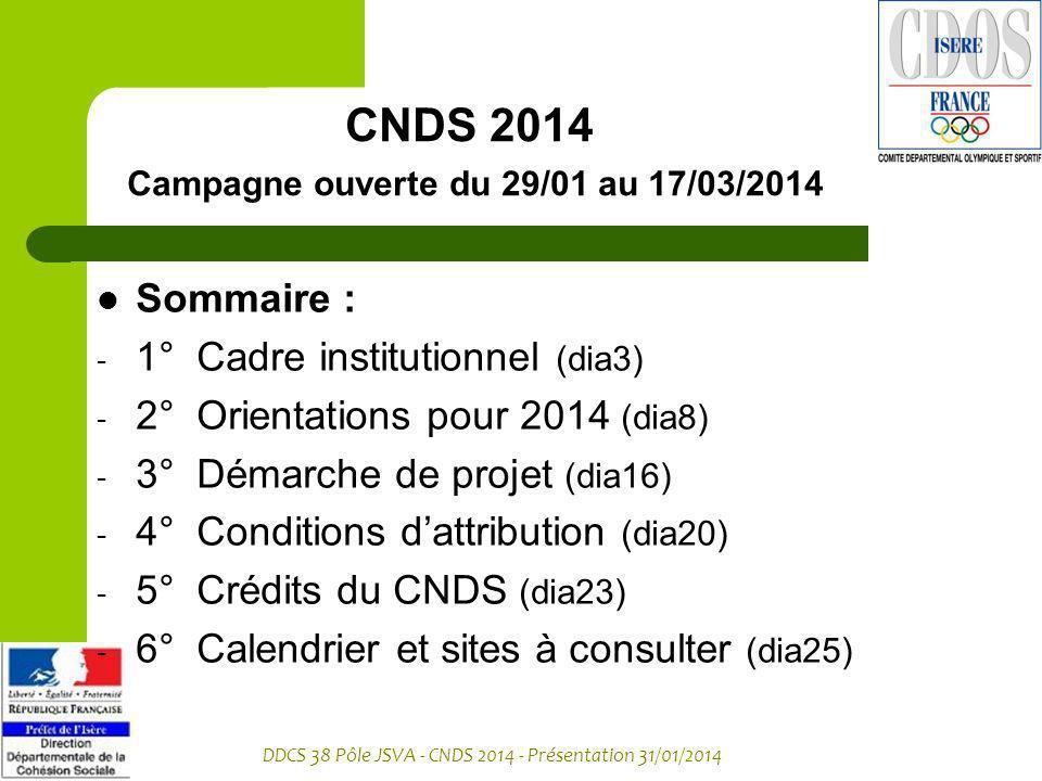 CNDS 2014 Campagne ouverte du 29/01 au 17/03/2014