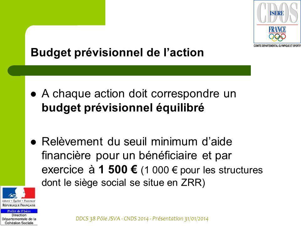 Budget prévisionnel de l'action