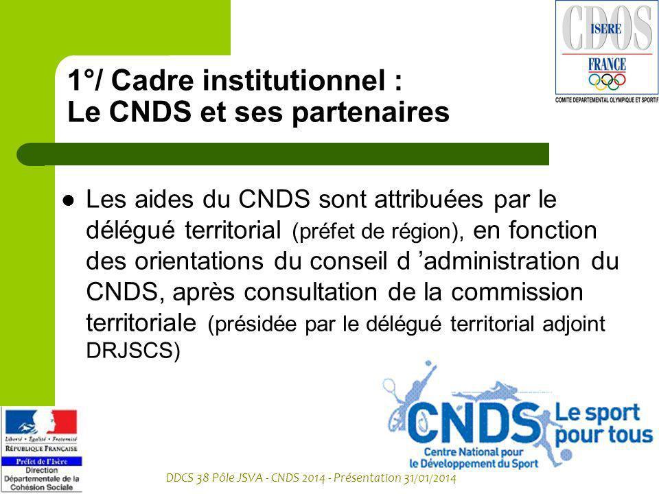 1°/ Cadre institutionnel : Le CNDS et ses partenaires