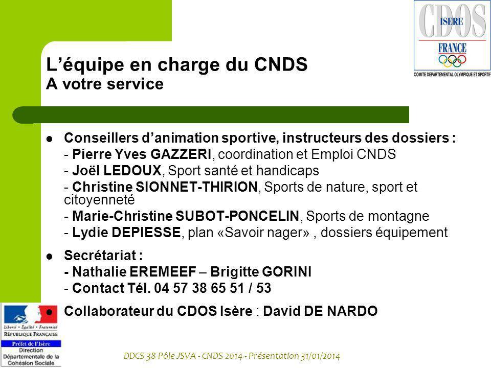 L'équipe en charge du CNDS A votre service