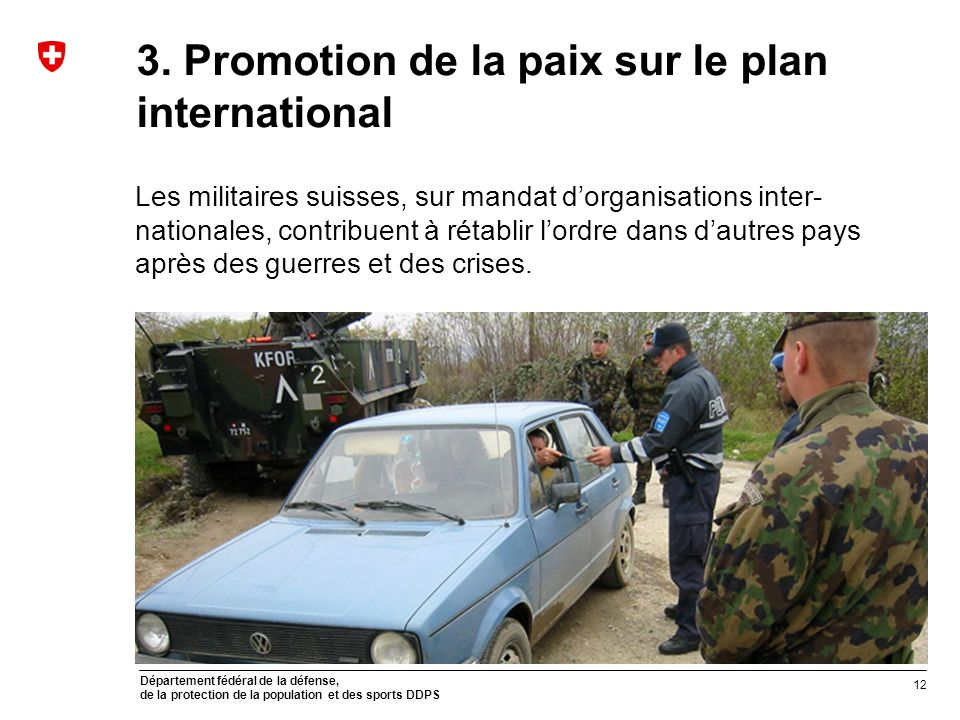 3. Promotion de la paix sur le plan international