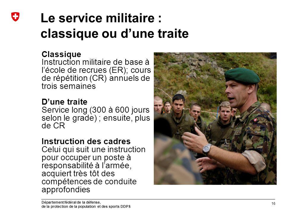 Le service militaire : classique ou d'une traite
