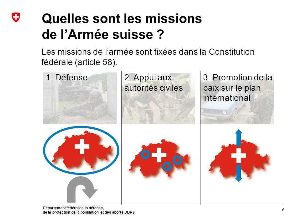 Quelles sont les missions de l'Armée suisse