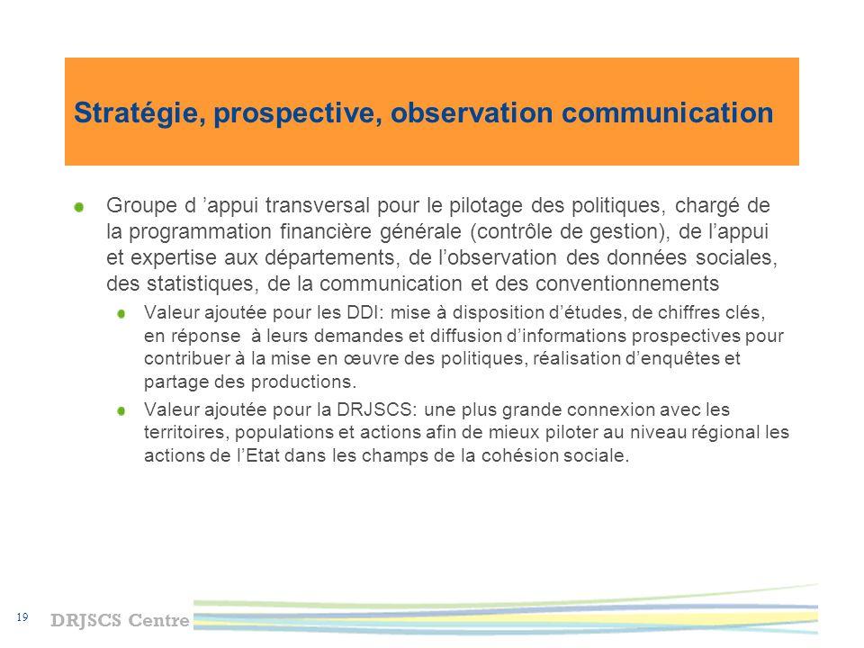 Stratégie, prospective, observation communication