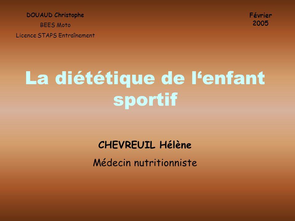 La diététique de l'enfant sportif