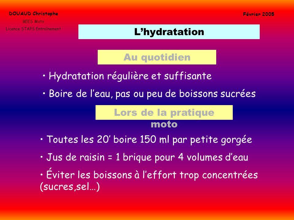 Hydratation régulière et suffisante
