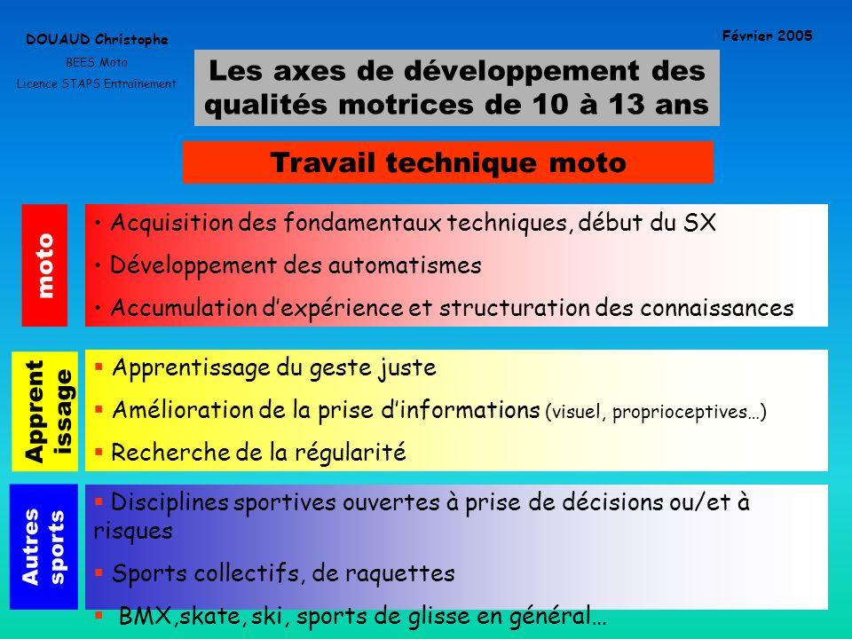 Les axes de développement des qualités motrices de 10 à 13 ans