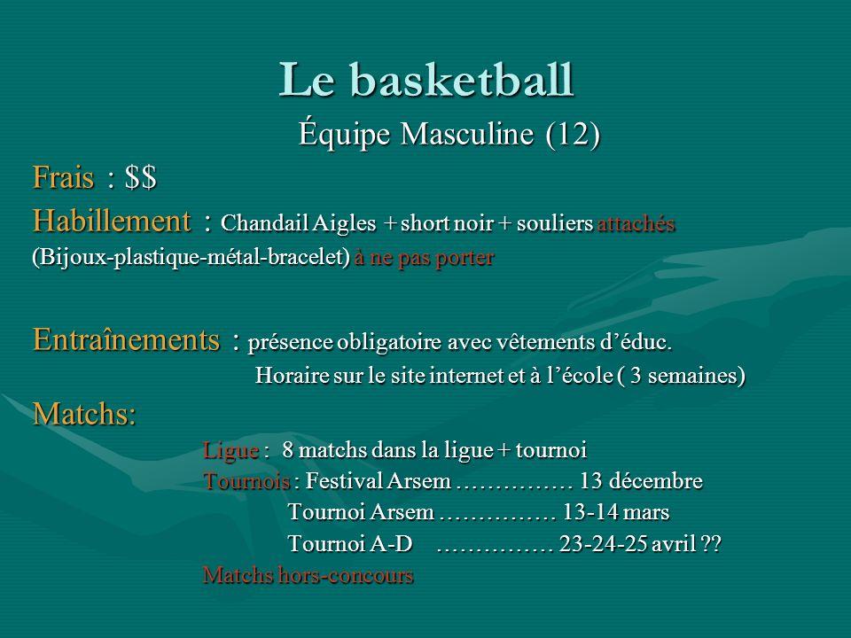 Le basketball Équipe Masculine (12) Frais : $$