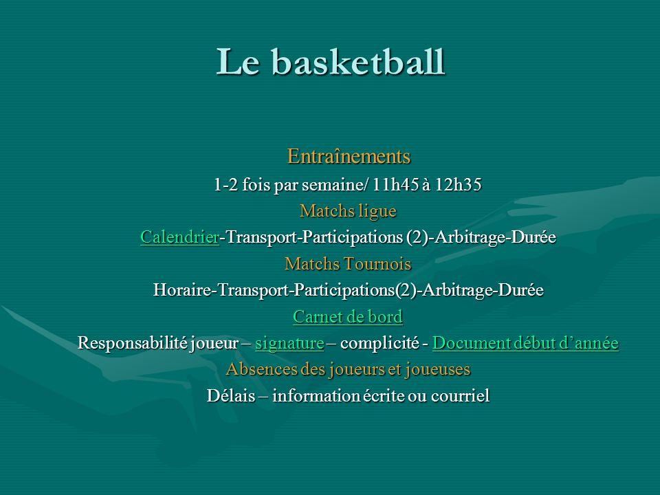 Le basketball Entraînements 1-2 fois par semaine/ 11h45 à 12h35