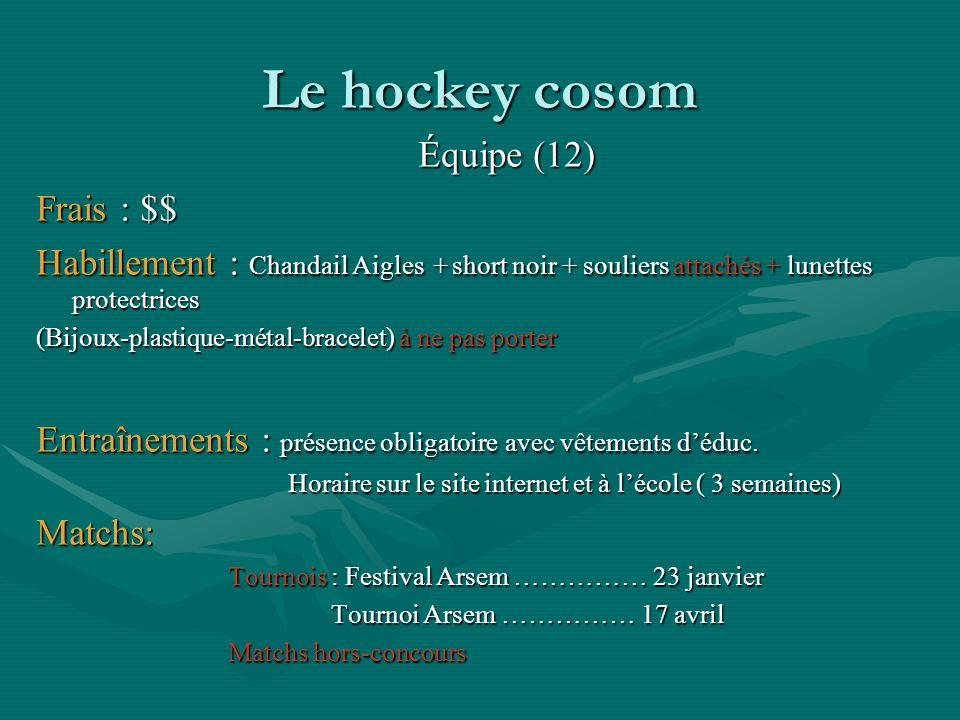 Le hockey cosom Équipe (12) Frais : $$