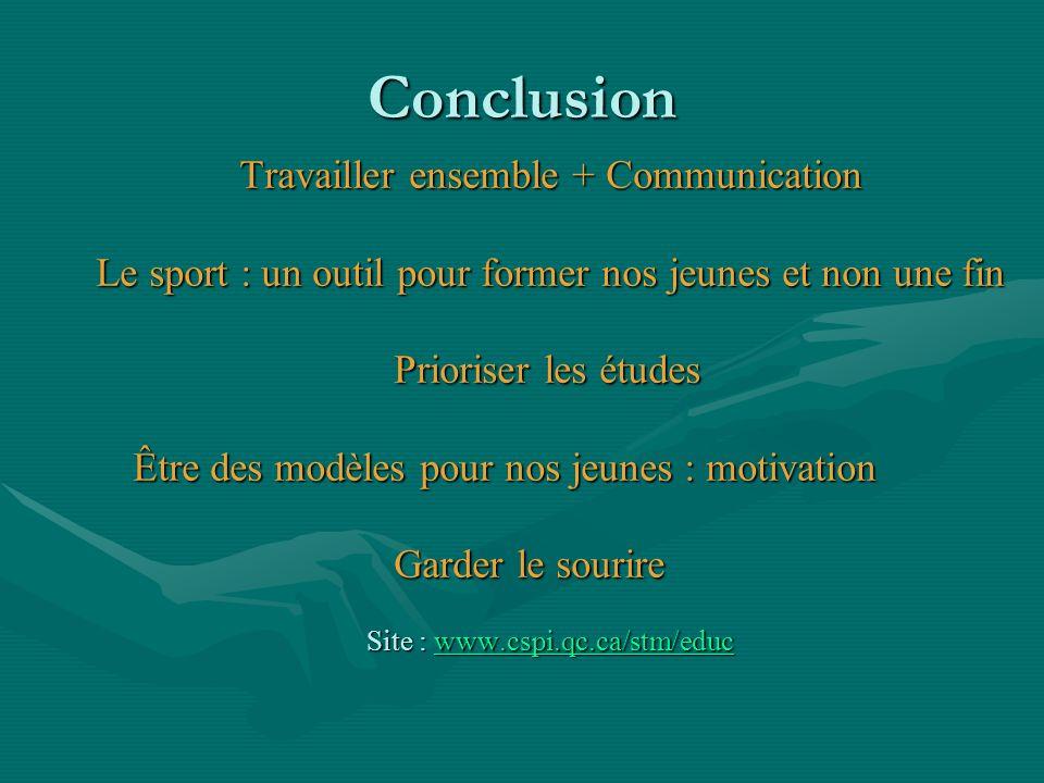 Conclusion Travailler ensemble + Communication