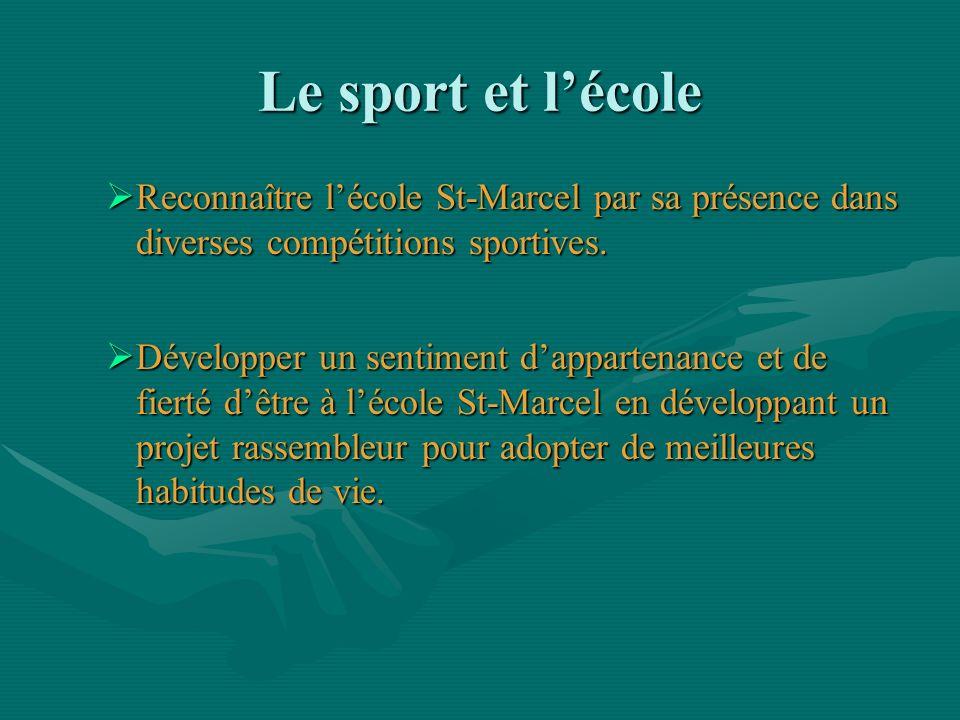 Le sport et l'école Reconnaître l'école St-Marcel par sa présence dans diverses compétitions sportives.