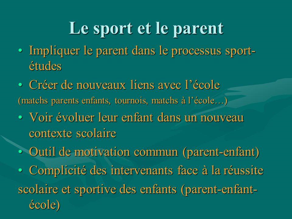 Le sport et le parent Impliquer le parent dans le processus sport-études. Créer de nouveaux liens avec l'école.