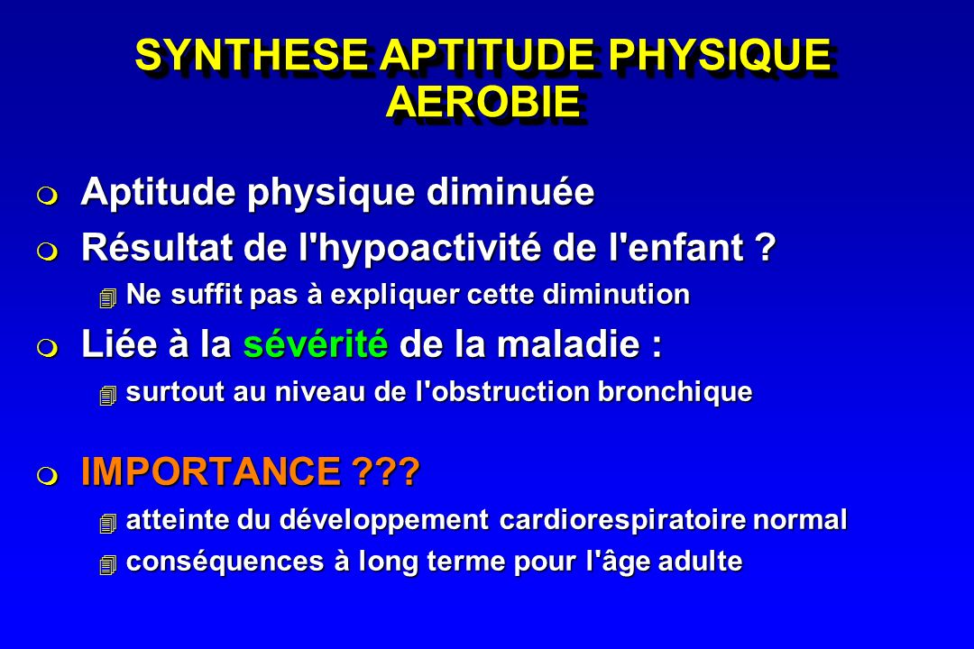 SYNTHESE APTITUDE PHYSIQUE AEROBIE