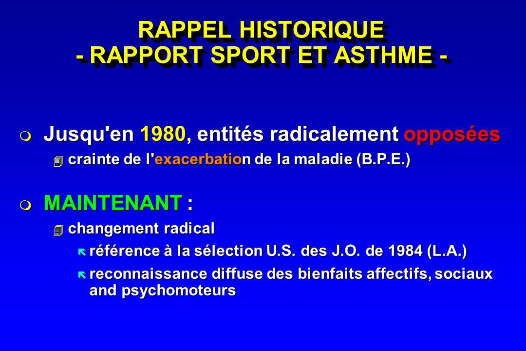 RAPPEL HISTORIQUE - RAPPORT SPORT ET ASTHME -