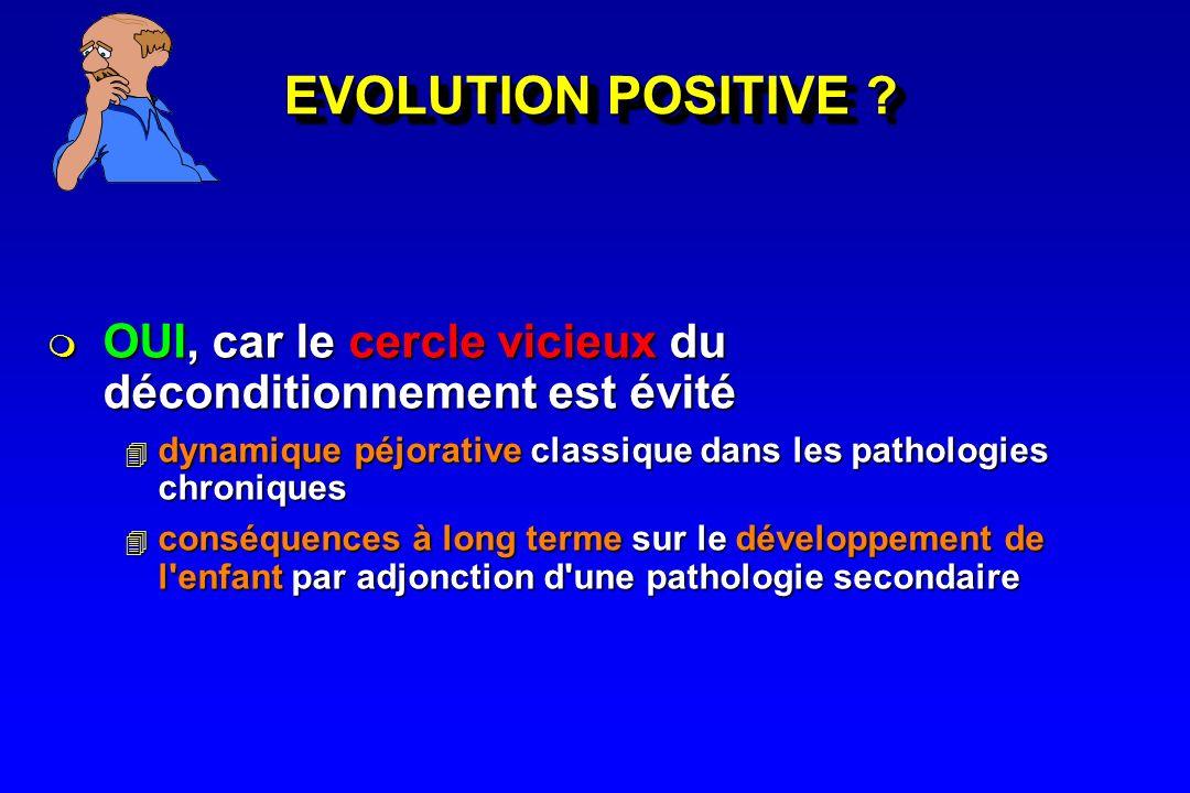 EVOLUTION POSITIVE OUI, car le cercle vicieux du déconditionnement est évité. dynamique péjorative classique dans les pathologies chroniques.