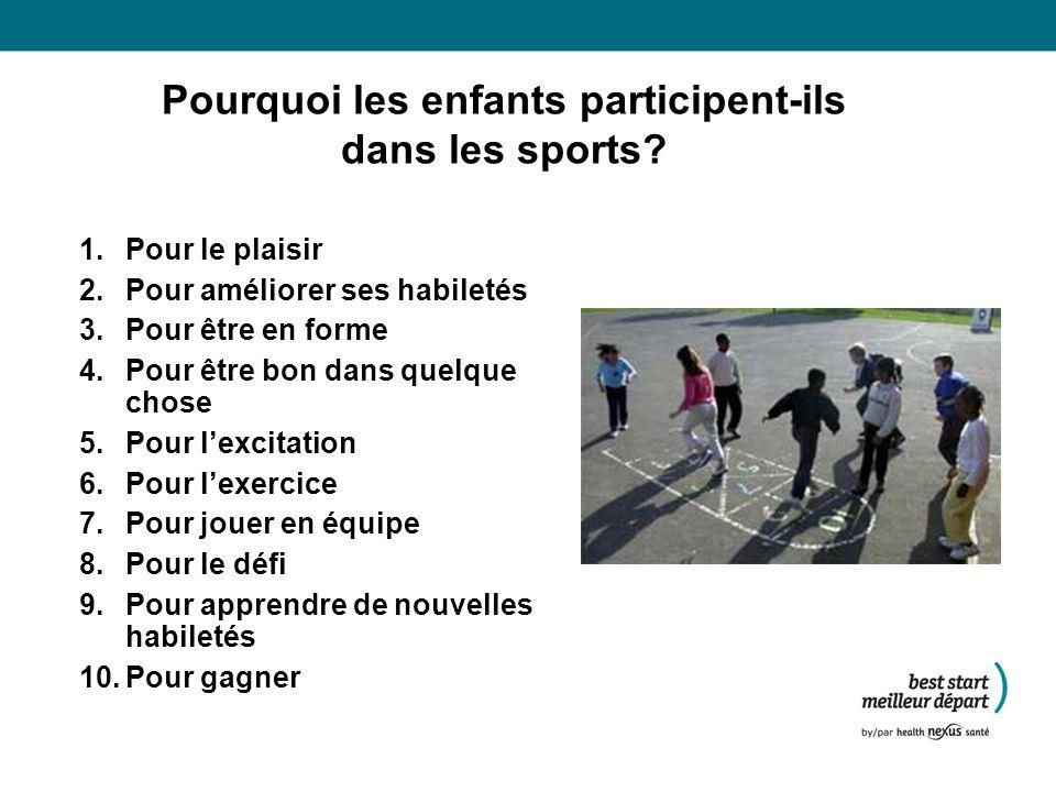 Pourquoi les enfants participent-ils dans les sports