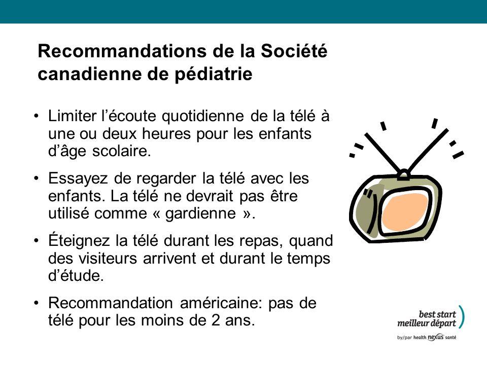 Recommandations de la Société canadienne de pédiatrie