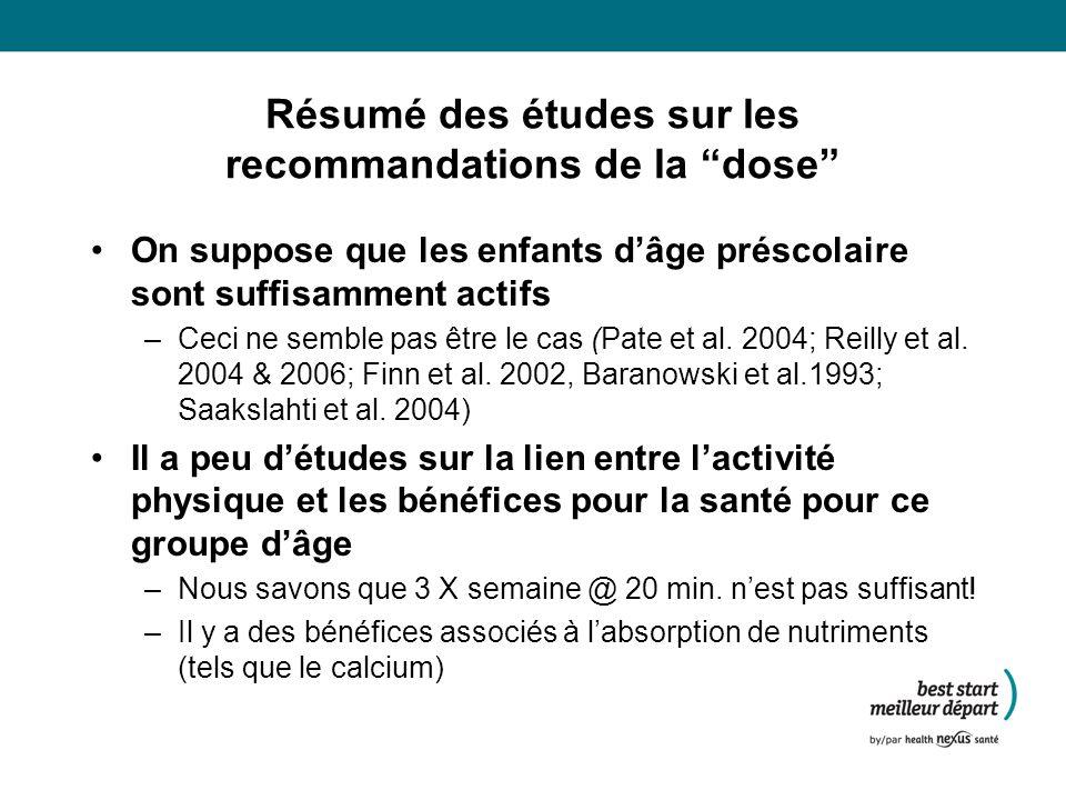 Résumé des études sur les recommandations de la dose