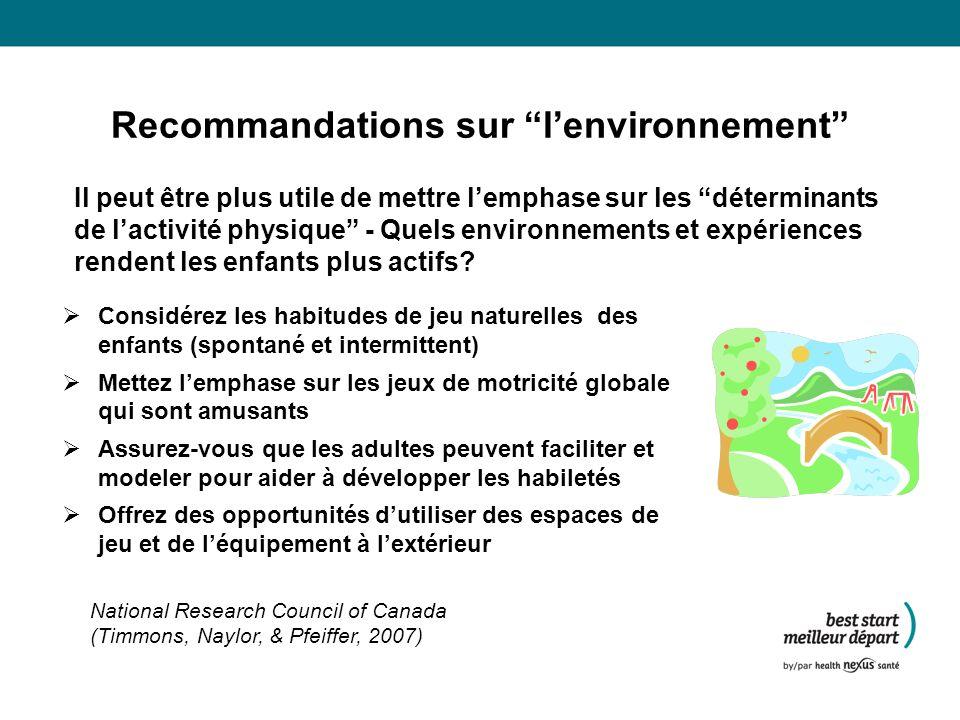 Recommandations sur l'environnement