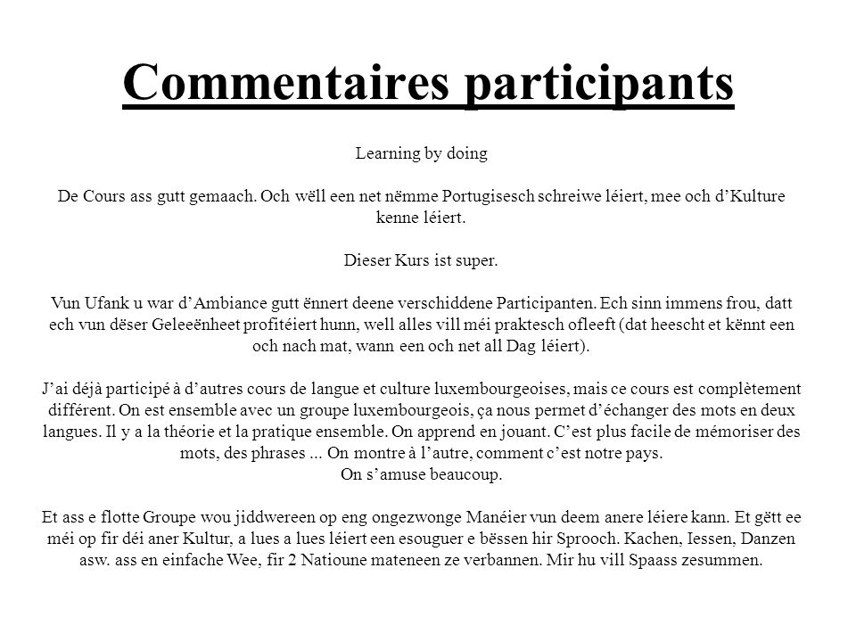 Commentaires participants