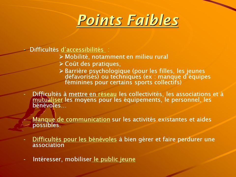 Points Faibles - Difficultés d'accessibilités :