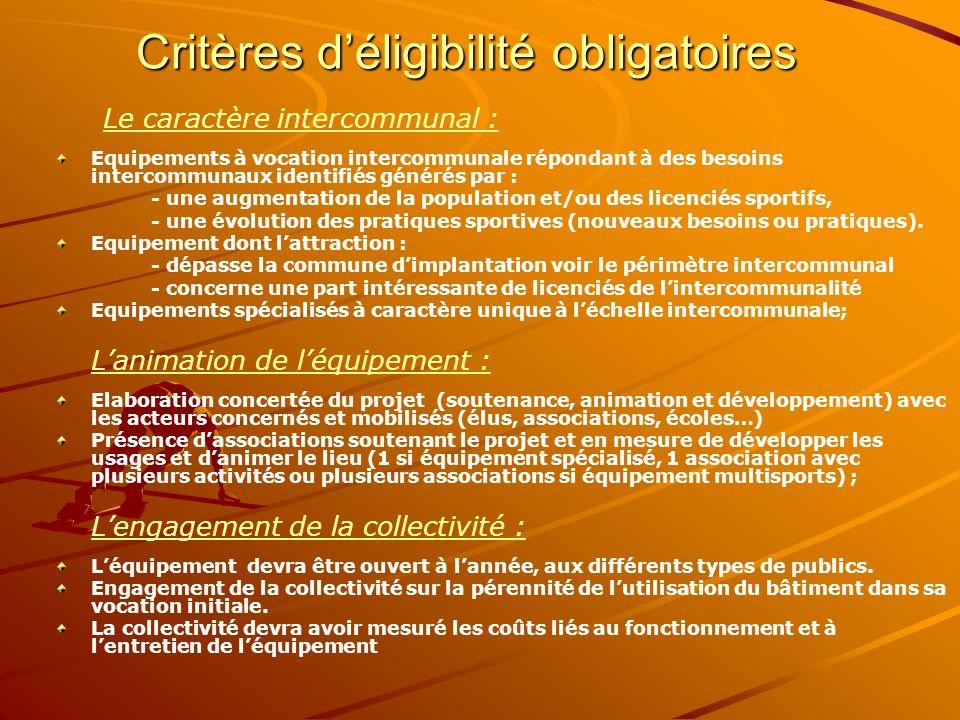 Critères d'éligibilité obligatoires