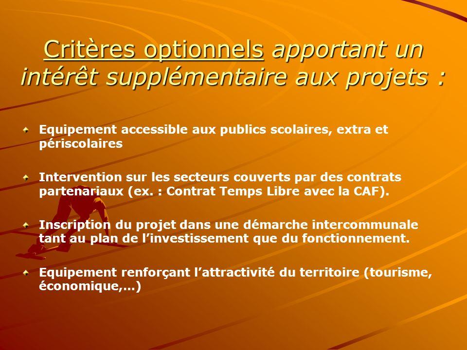 Critères optionnels apportant un intérêt supplémentaire aux projets :