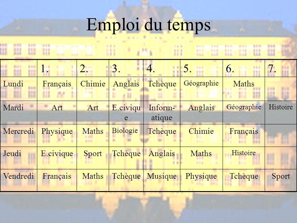 Emploi du temps 1. 2. 3. 4. 5. 6. 7. Lundi Français Chimie Anglais