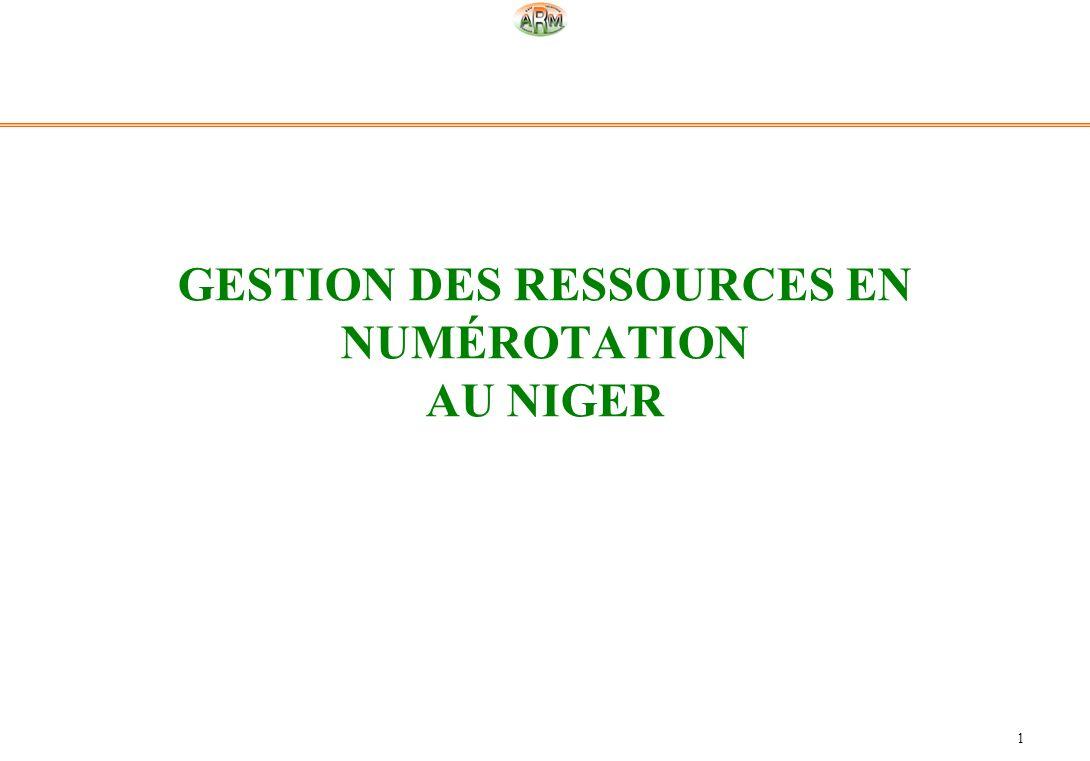 GESTION DES RESSOURCES EN NUMÉROTATION AU NIGER