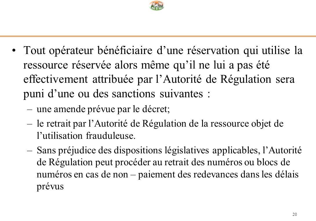 Tout opérateur bénéficiaire d'une réservation qui utilise la ressource réservée alors même qu'il ne lui a pas été effectivement attribuée par l'Autorité de Régulation sera puni d'une ou des sanctions suivantes :