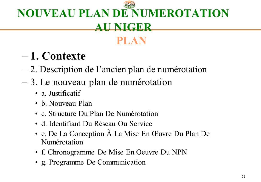 NOUVEAU PLAN DE NUMEROTATION AU NIGER