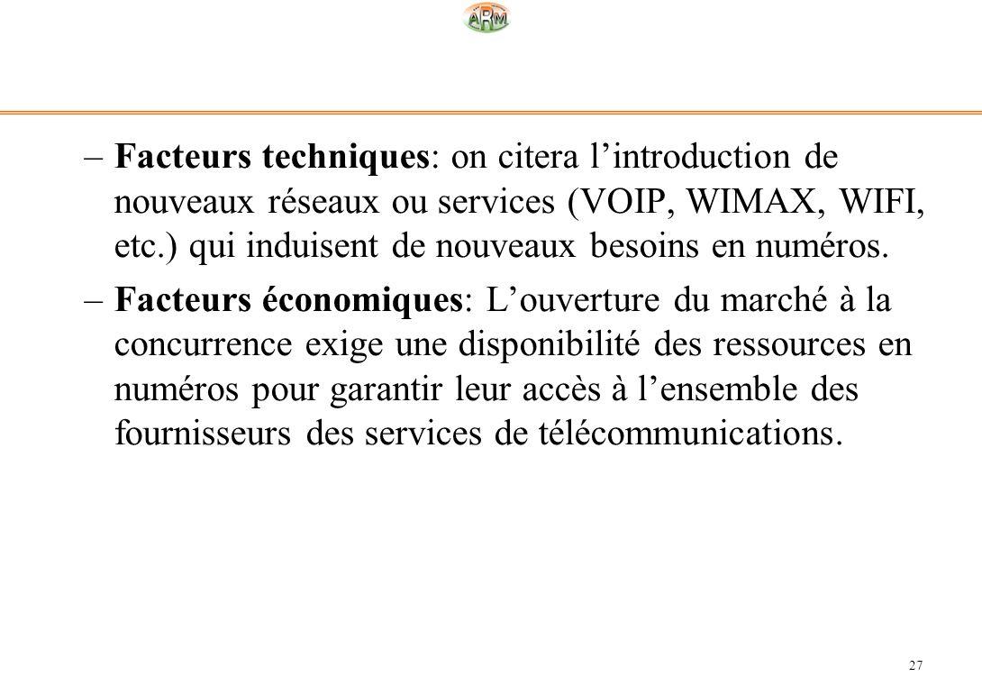 Facteurs techniques: on citera l'introduction de nouveaux réseaux ou services (VOIP, WIMAX, WIFI, etc.) qui induisent de nouveaux besoins en numéros.