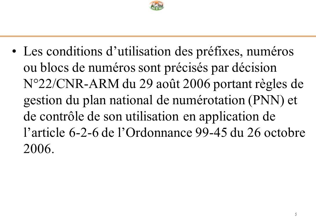 Les conditions d'utilisation des préfixes, numéros ou blocs de numéros sont précisés par décision N°22/CNR-ARM du 29 août 2006 portant règles de gestion du plan national de numérotation (PNN) et de contrôle de son utilisation en application de l'article 6-2-6 de l'Ordonnance 99-45 du 26 octobre 2006.