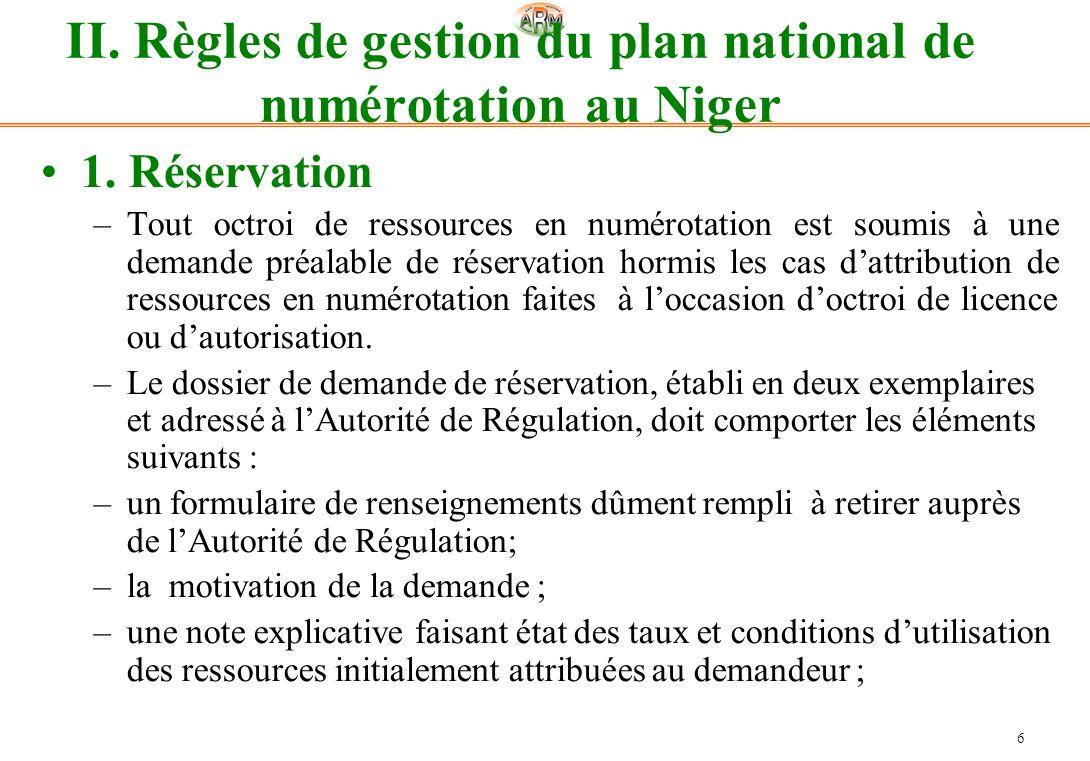 II. Règles de gestion du plan national de numérotation au Niger