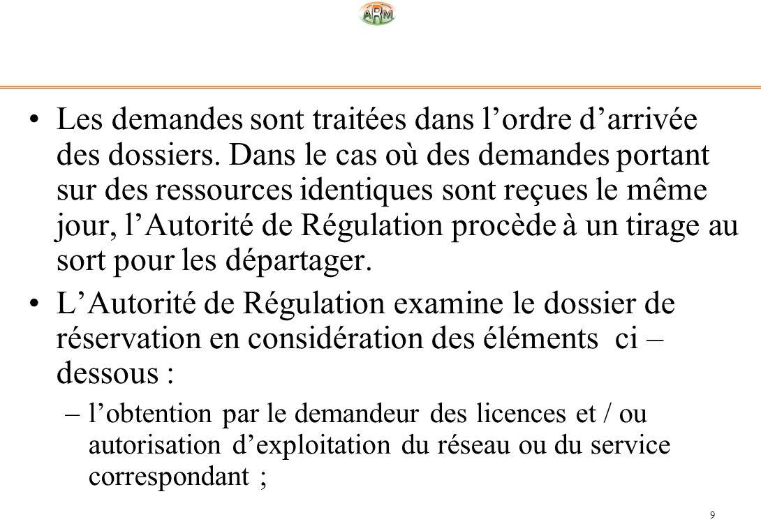 Les demandes sont traitées dans l'ordre d'arrivée des dossiers