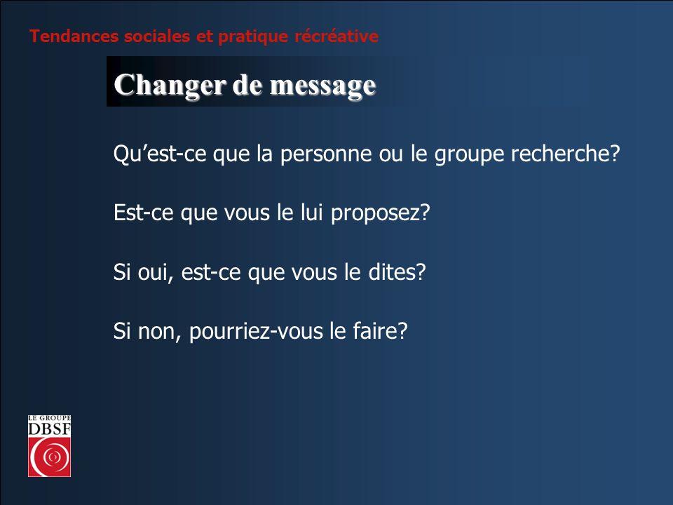 Changer de message Qu'est-ce que la personne ou le groupe recherche