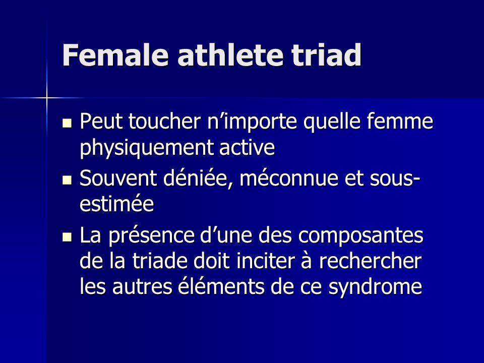 Female athlete triad Peut toucher n'importe quelle femme physiquement active. Souvent déniée, méconnue et sous-estimée.
