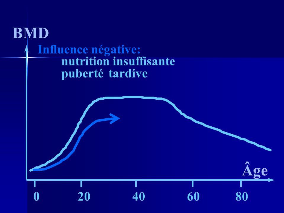 BMD Âge Influence négative: nutrition insuffisante puberté tardive 20