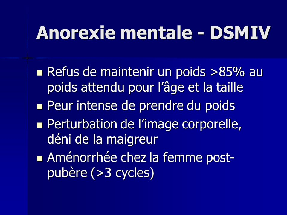 Anorexie mentale - DSMIV