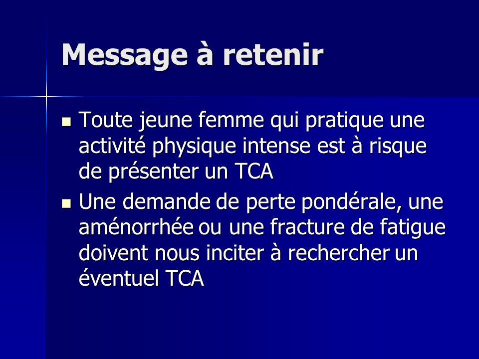 Message à retenir Toute jeune femme qui pratique une activité physique intense est à risque de présenter un TCA.