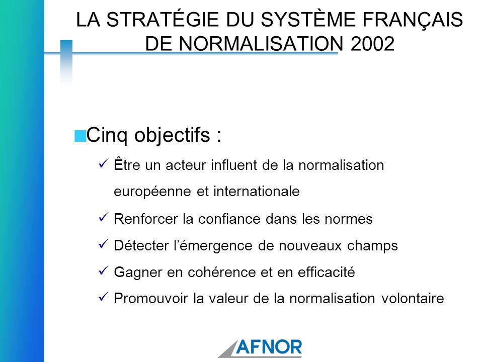 LA STRATÉGIE DU SYSTÈME FRANÇAIS DE NORMALISATION 2002