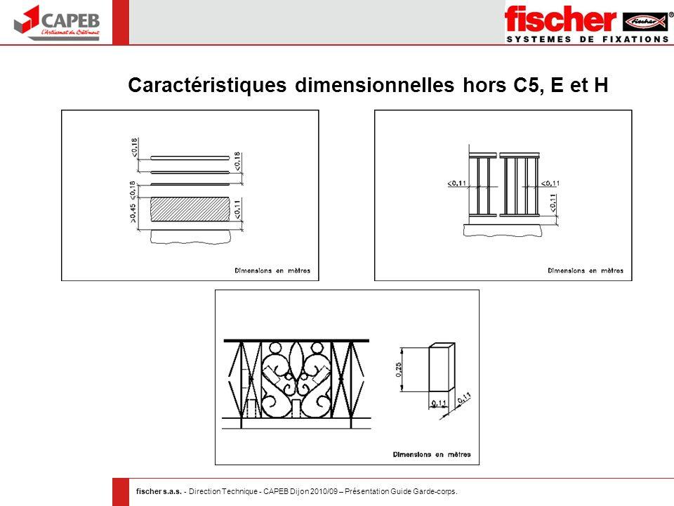Caractéristiques dimensionnelles hors C5, E et H