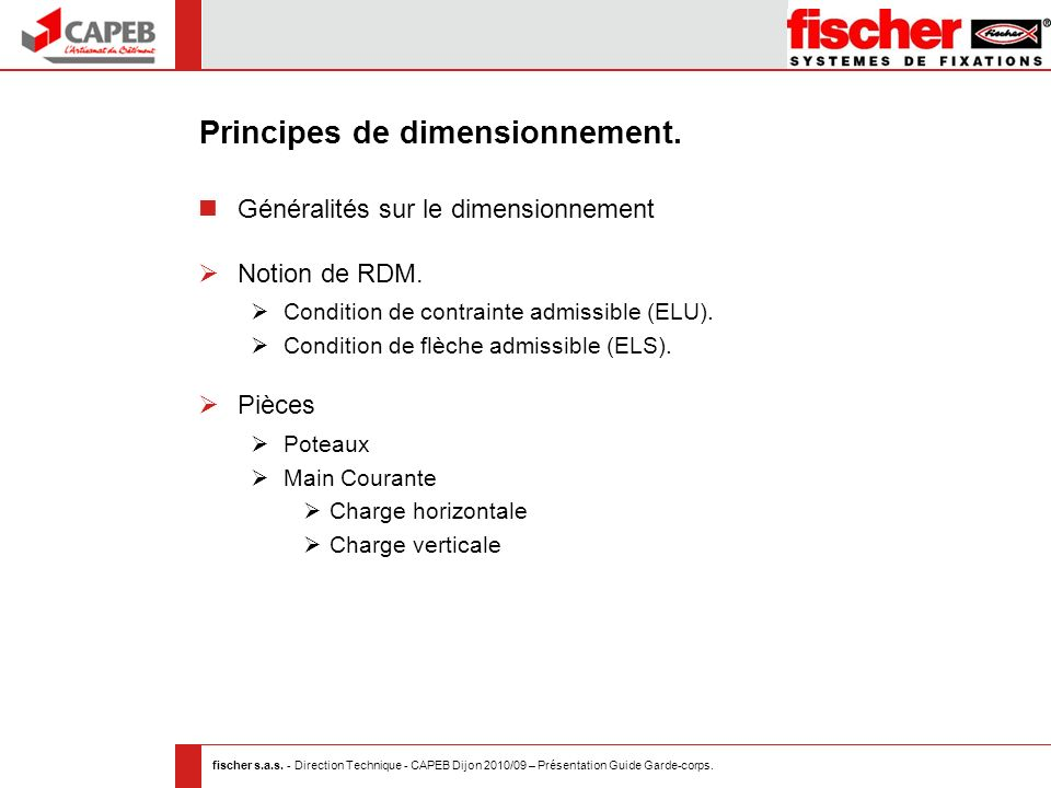 Principes de dimensionnement.