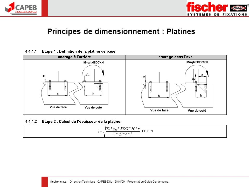 Principes de dimensionnement : Platines