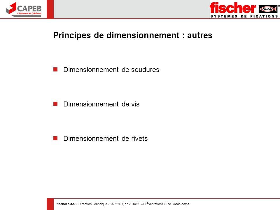 Principes de dimensionnement : autres