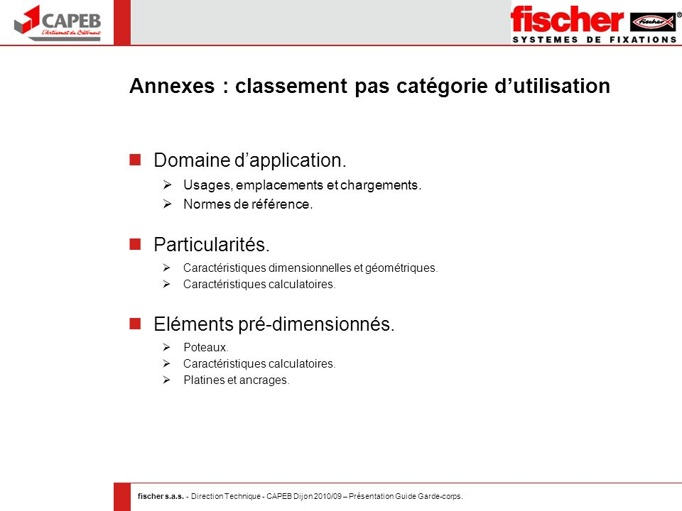 Annexes : classement pas catégorie d'utilisation