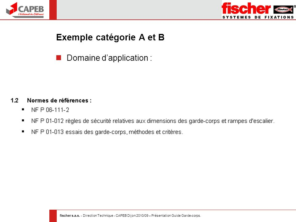Exemple catégorie A et B